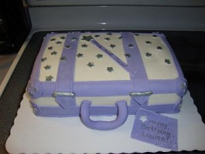 Fondant Decorating Ideas - Cake looks like a pretty piece of luggage