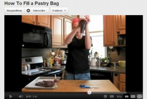 Chef Emily from The Gourmand and the Peasant Demonstrates How to Fill a Piping Bag (Screenshot from YouTube)