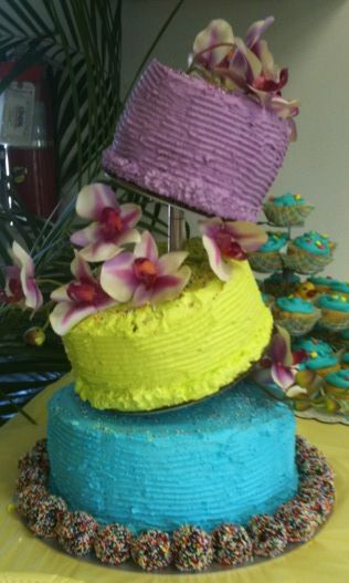"Cake Decorated Using the ""Topsy Turvy"" Cake Stand from Cake Stackers - CLICK HERE! (photo used by permission)"
